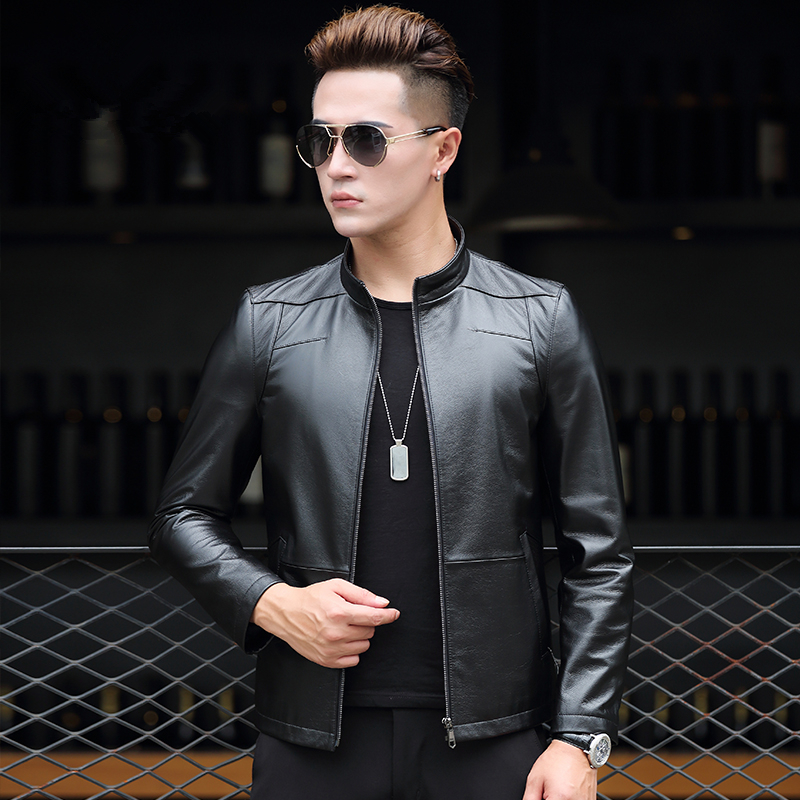 Real Leather Jacket Spring Autumn Genuine Cow Leather Jacket Motorcycle Plus Size Coat Hombre P-1-7280-1 ZL926