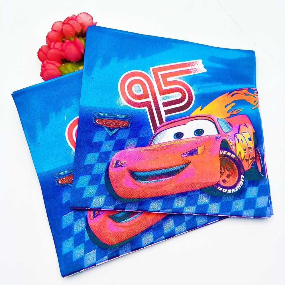 Disney Cars Lightning McQueen เด็ก Happy Birthday PARTY อุปกรณ์ตกแต่งทิ้งบนโต๊ะอาหารผ้าปูโต๊ะแผ่น Favors ของขวัญ