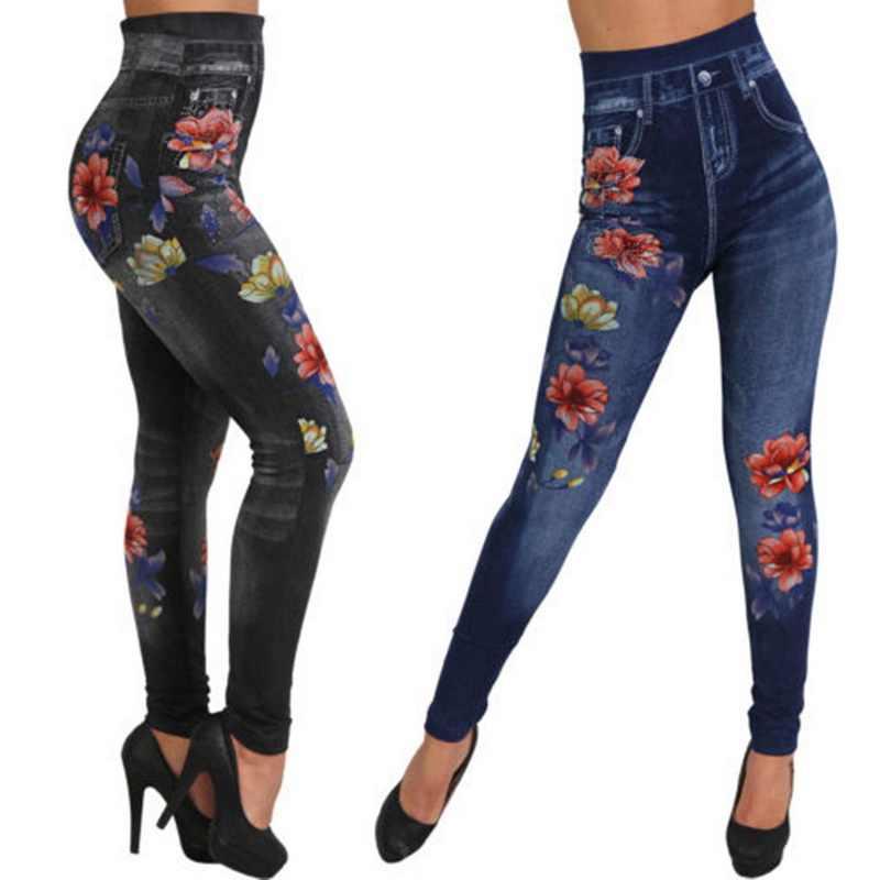 Moda kadın tayt çiçek baskı kalem pantolon Leggins 2020 3XL artı boyutu rahat yüksek bel Faux Denim tayt dipleri