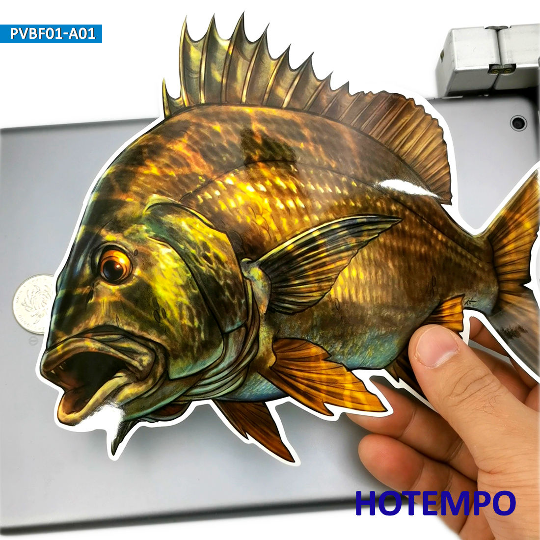 20cm 7.87inch Big Size Golden Fish Bass Perch Black Snapper Stickers For Laptop Luggage Skateboard Car Fishing Box Tank Stickers