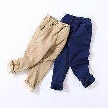 2020 çocuk pantolon çocuk sonbahar kış giysileri katı çocuk pantolon bebek erkek pantolon sıcak toddlers kalın polar khaqi katı