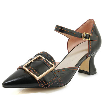 Women's genuine leather ankle strap high heel pumps metal buckle fashion elegant ladies evening dress shoes high heel footwear