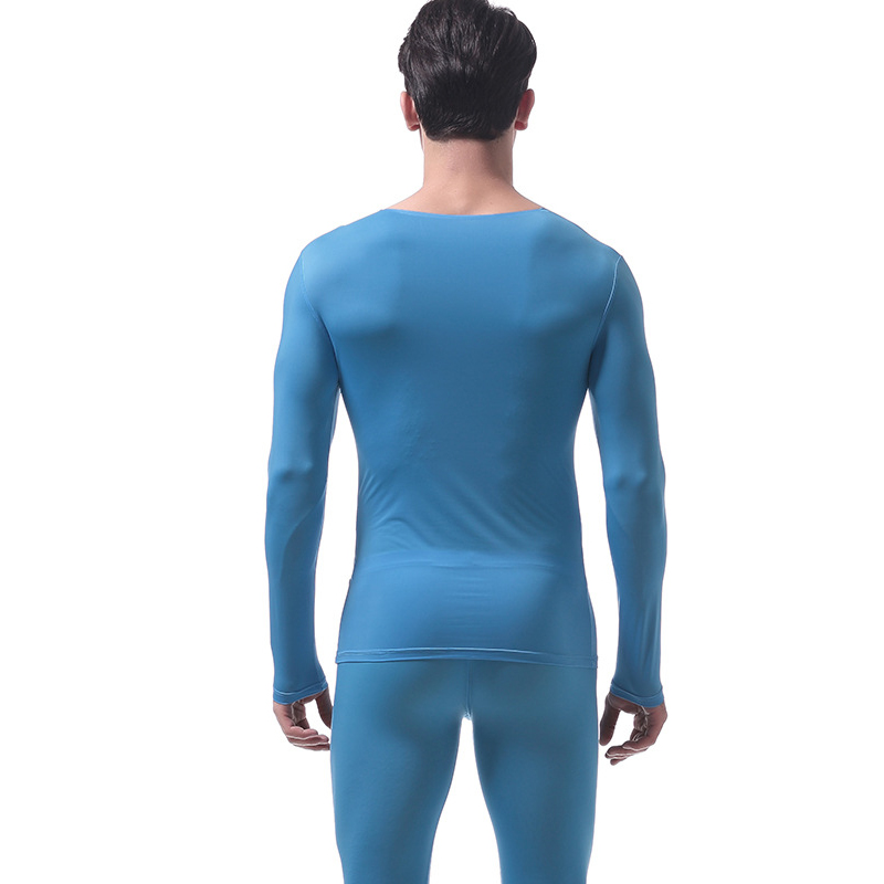 Tops Underwear Ultrathin Clothing-Set with Pants Round-Neck JS26 Suit Seamless Men