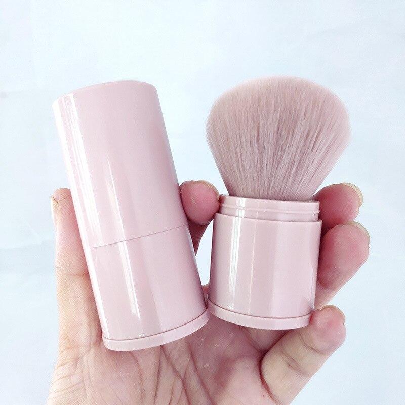 Роскошная блестящая Кисть для макияжа, розовая мягкая кисть в форме гриба, розовая скошенная, плоская кисть для макияжа Kabuki Blusher