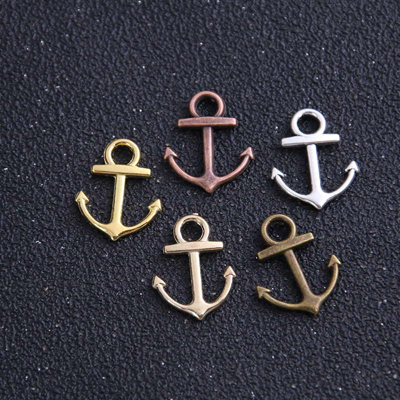 30pcs 11*14mm Five Color Metal Zinc Alloy Mixed Mini Nautical Anchor Charms Diy Jewelry Pendant Charms