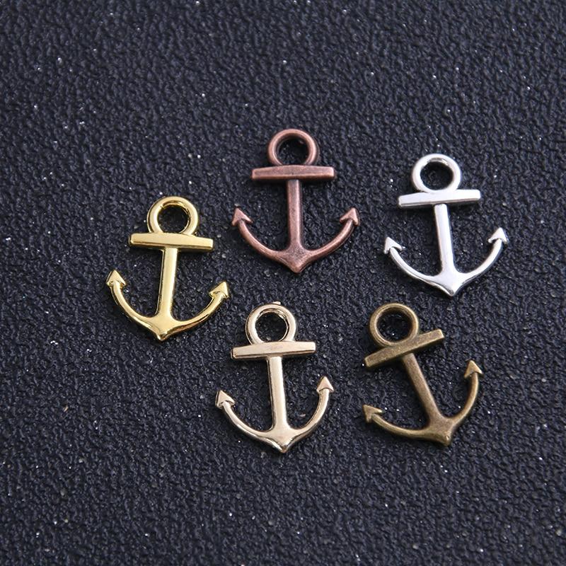30pcs 11*14mm Five Color Metal Zinc Alloy Mixed Mini Nautical Anchor Charms Diy Jewelry Pendant Charms