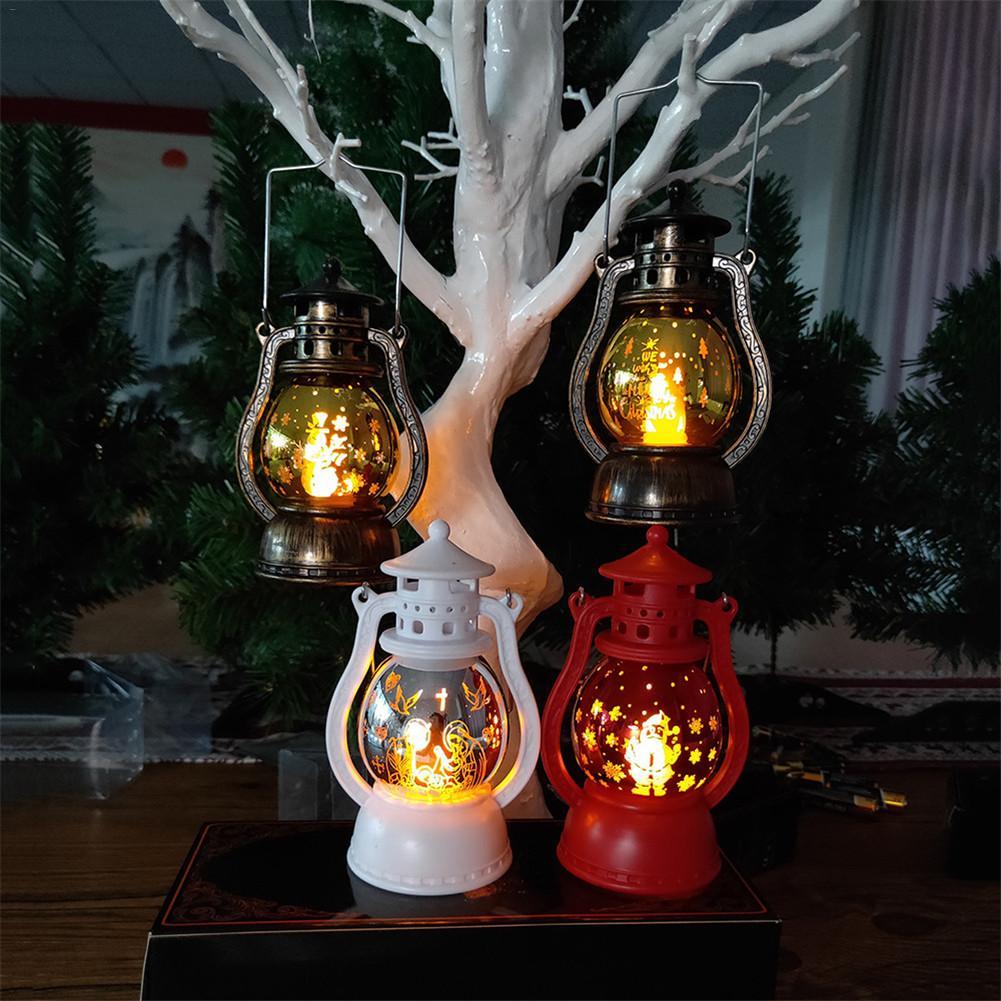 Светодиодный фонарь, Рождественский светильник, подсвечивающий свет для дома, винтажный Ретро праздничный фестиваль, Рождественское украшение, крытая наружная лампа