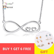 925 Sterling Silver Heart Infinity Pendant Necklace 8 Figure Forever Link Chain Necklace for Women gifts pinjeas tiny necklace handmade sterling sign 8 infinity pendant new fashion jewelry for women christmas birthday