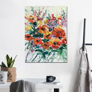 Image 4 - Free shipping cheap 100% Hand painted modern home decor wall art picture many flowers thick palette knife oil painting on canvas