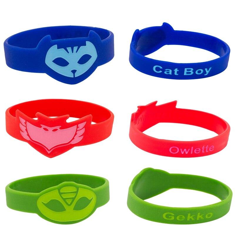 Pj Mask Juguete Silicone Sports Bracelet PJ Masks Toy Cartoon Anime Figure PVC Catboy Owlette Gekko Toys For Children  Gift S20