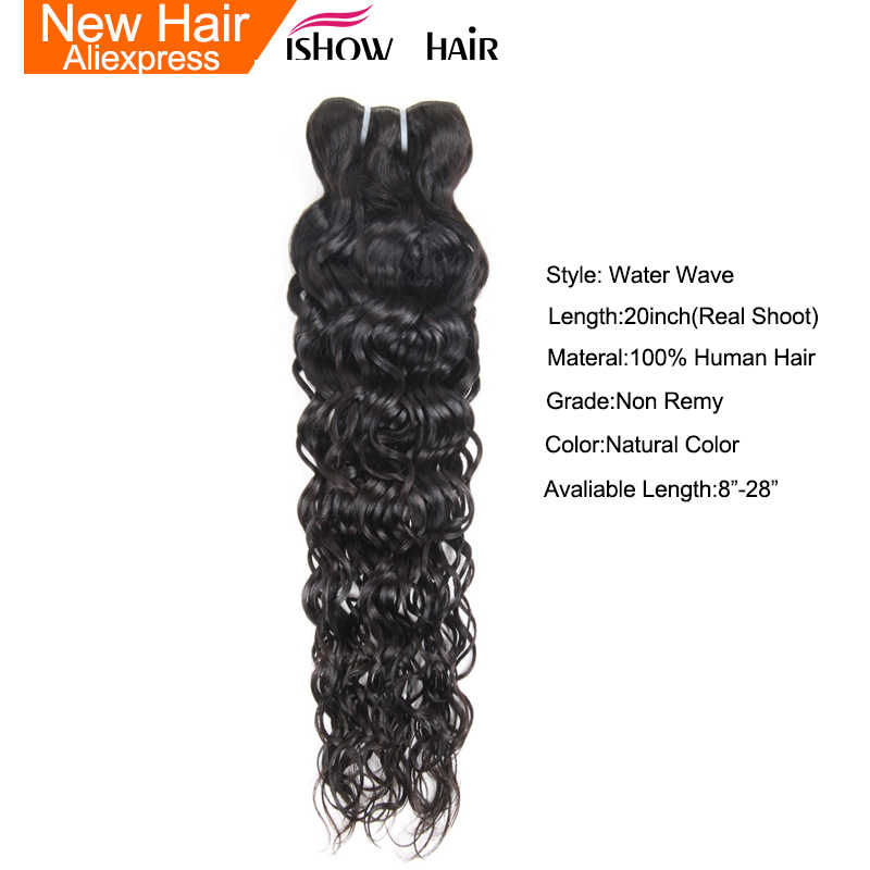 Ishow Indian Human Hair Water Wave Hair Weave Bundles Natural Color Non remy Hair Extensions Can Be Dyed 1Pc Hair Bundles