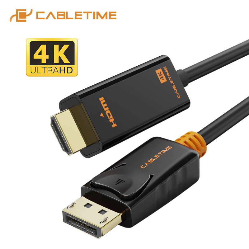 CABLETIME DisplayPort do HDMI kabel 4K 60hz 1080P DP do HDMI M/M konwertera czarny DP 1.2 dla projektor HDTV Laptop PC C072