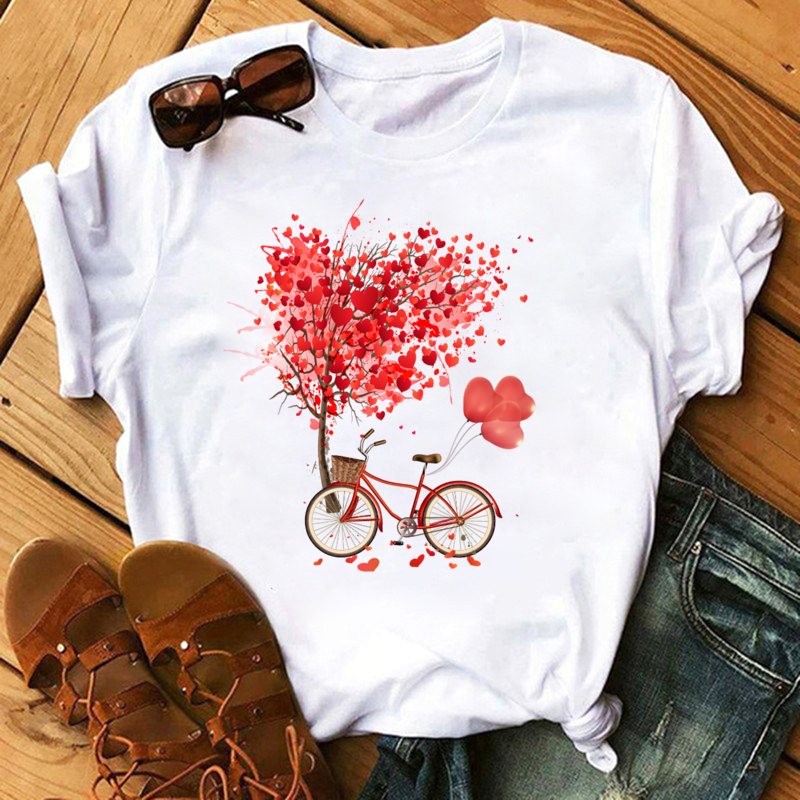 2020 New T Shirt Women Summer Casual Top Female Tshirts Heart Pattern Print Streetwear  Harajuku O-neck Short Clothes