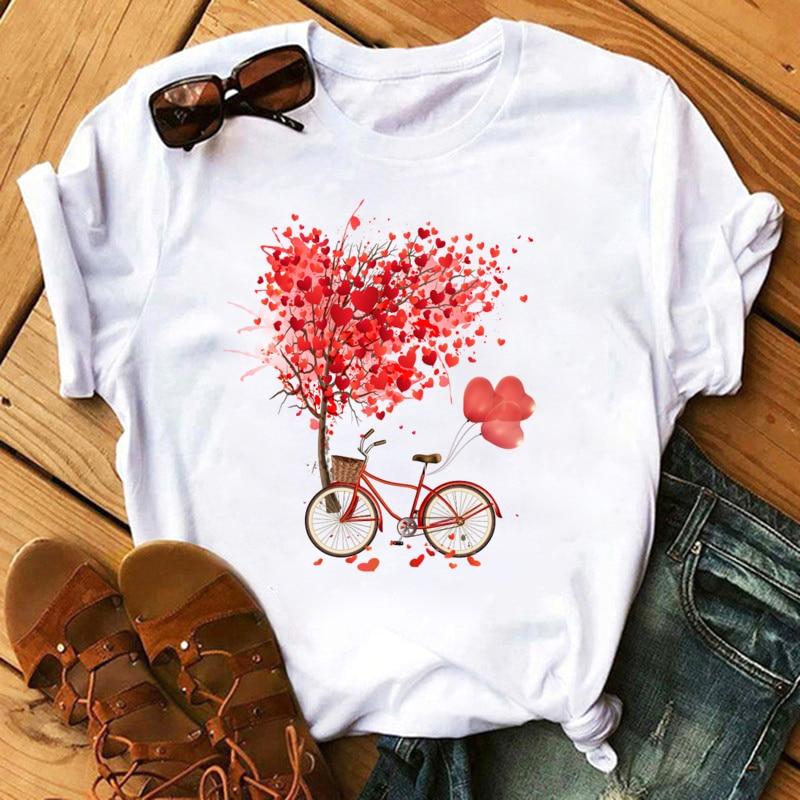 2020 New T Shirt Women Summer Casual Top Female Tshirts Heart Pattern Print Streetwear  Harajuku O-neck Short Clothes