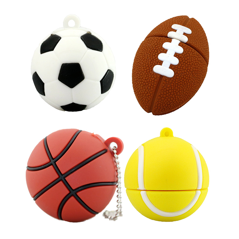 Sports Ball USB Flash Drive Pen Drive 64GB 128GB 32GB 256 8 16 GB U Disk Flash Pen-drive Basketball Football Rugby Memory Stick