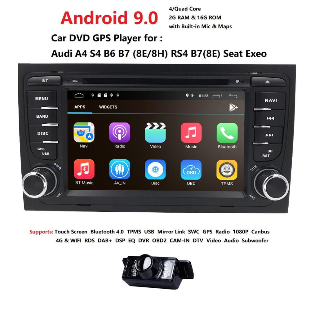 Free shipping! 4G WIFI Android 9.0 CAR GPS Navi for <font><b>audi</b></font> <font><b>A4</b></font> 2002-2008 S4 RS4 8E 8H <font><b>B6</b></font> B7 With BT RDS DVD <font><b>multimedia</b></font> player radio image