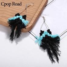 Cpop New Boho Handmade Feather Fringe Tassel Earrings Geometric Chic Ethnic Macrame Bridesmaid Gifts Wedding Jewelry