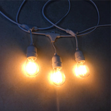 String-Lights Led-Bulbs Holiday Outdoor Waterproof Cord White with Dimmable Edison S14