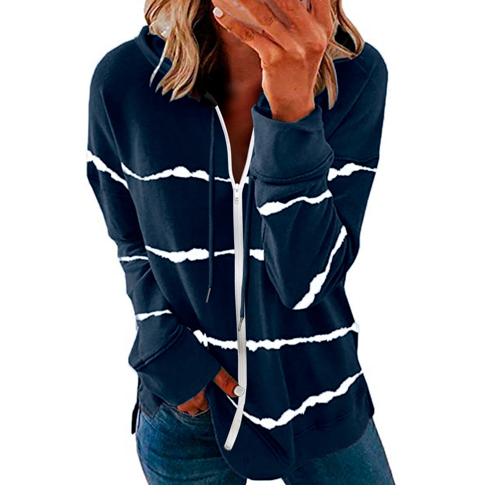 40#Womens Hoodie Striped Full Zipper Long Sleeve Lightweight Sweatshirts Spring Elegant Pullover Tee Tops толстовка женская 14