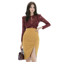 Big Size Half Turtleneck Hollow Out Lace Blouse and Yellow Skirt Autumn Winter Modis Streetwear Runway Two Piece Set for Women(China)