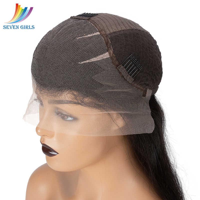 Sevengirls 13*6 Курчавые Кудрявые девственные человеческие волосы на кружеве парики малазийские натуральные цвета 10-26 влажные и волнистые парики для черных женщин