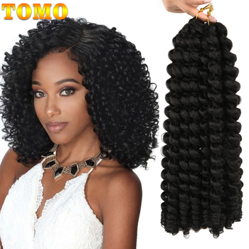 TOMO Synthetic Jumpy Wand Curl Crochet Braids 8/12Inch Ombre Jamaican Bounce Cur Crochet Braiding Hair Extension for Black Women 1