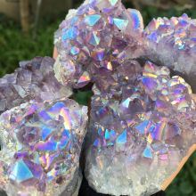 lovely rainbow angel aura crazy amethyst clusters natural quartz crystal rough lealing stone for children gifts