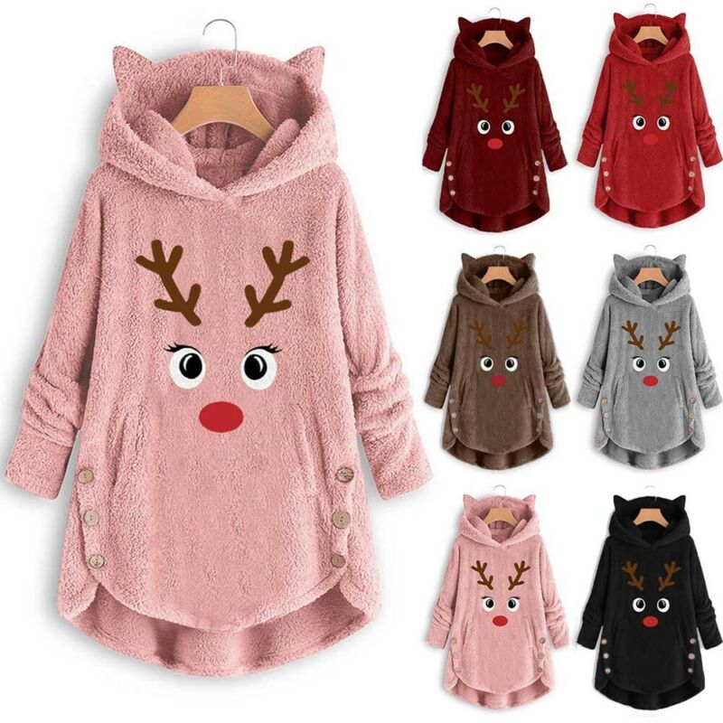 Brand New Womens Christmas Reindeer Hooded Fluffy Fur Sweatshirt Ladies Jumper Xmas Nightgowns Winter Warm Tops