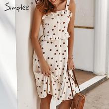 Simplee Polka dot ruffle women holiday dress Spaghetti straps buttons female midi dresses High waist ladies summer vestidos 2020