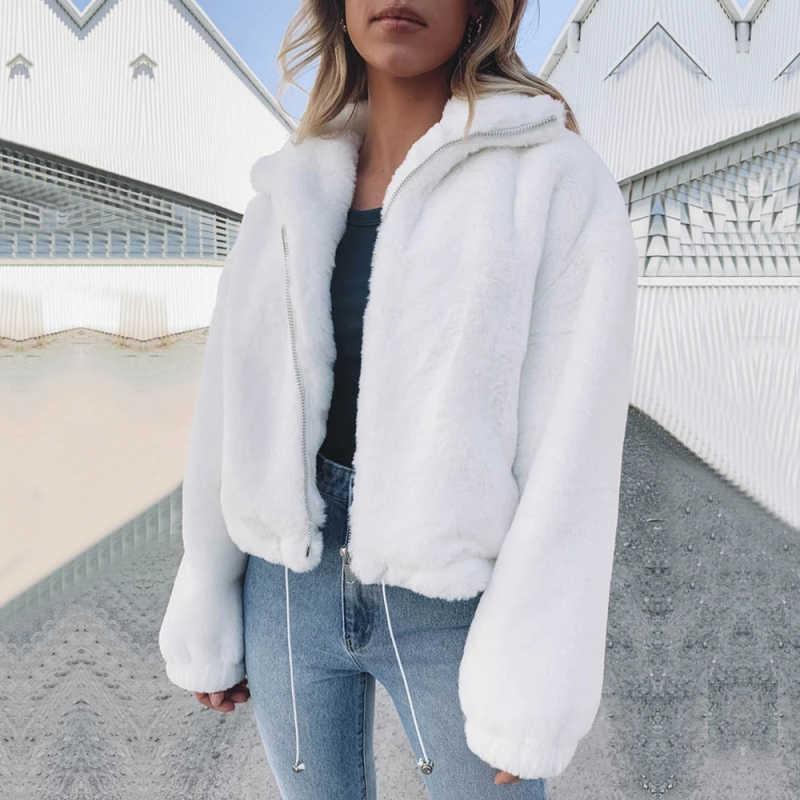 White Faux Angora Rabbit Woll Bomber Short Jacket women winter warm coat