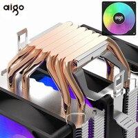 مروحة تبريد وحدة المعالجة المركزية 4pin PWM RGB من Aigo gale, برج مزدوج 6 أنابيب حرارية ، مبرد للكمبيوتر الشخصي ، Intel 1150 1155 1156 1366 AM3/AM4 AMD