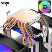Aigo gale computador 4pin pwm rgb cpu cooler fan torre dupla 6 heatpipes pc radiador de refrigeração intel 1150 1155 1156 1366 am3/am4 amd
