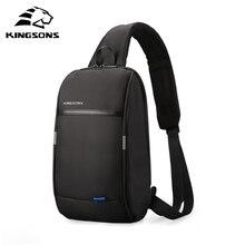 Kingsons Mochila pequeña por encima del hombro para hombre, bolso de pecho con una correa, de viaje, de ocio, cruzado de 10,1 pulgadas, con carga USB