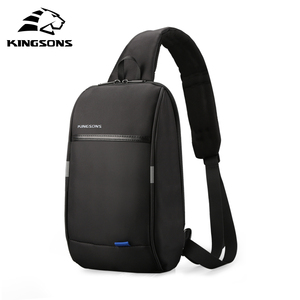 Image 1 - Kingsons Mochila pequeña por encima del hombro para hombre, bolso de pecho con una correa, de viaje, de ocio, cruzado de 10,1 pulgadas, con carga USB