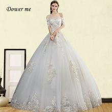 Свадебное платье с открытыми плечами и кружевной вышивкой