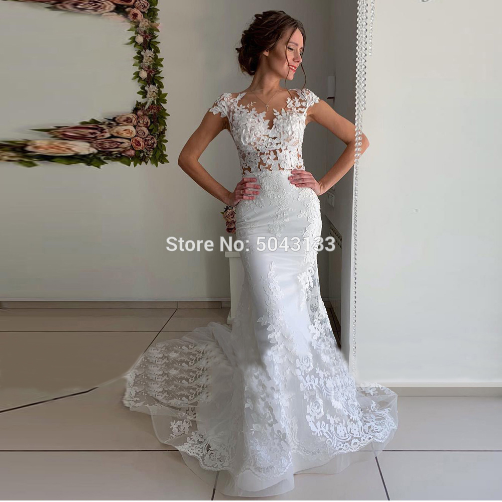 Sexy Mermaid Wedding Dresses Vestidos Noiva Exquisite Lace Appliques V Neck Sleeveless Bridal Gowns Buttons Back Bride Dress