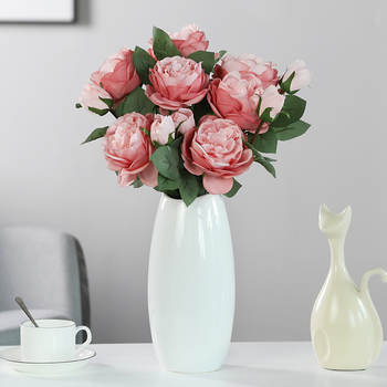 Luyue Artificial Rose Flower Living Room Decoration Peony Home Fake Flower Jewelry Dining Table Dried Flower Bouquet Leather Bag