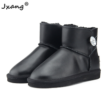 JXANG 2020 new waterproof Genuine leather winter boots warm