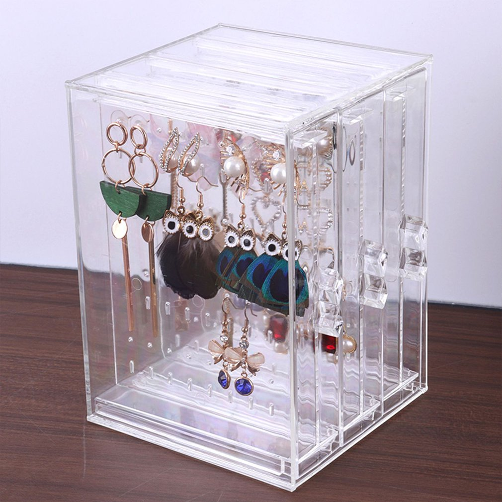 Earring Storage BoxAcrylic Jewelry Storage Drawer Box Earrings Display Stand Rack Necklace Bracelet Organizer Case Transparent