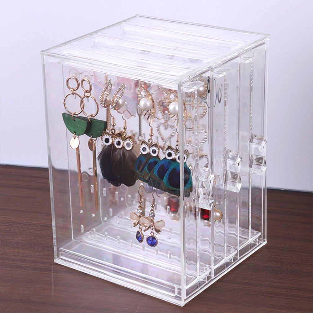 Earring Storage BoxAcrylic Jewelry Storage Drawer Box Earrings Display Stand Rack Necklace Bracelet Organizer Case Transparent