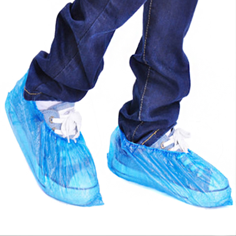 100Pcs Disposable Plastic Thick Outdoor Rainy Day Carpet Cleaning Shoe Cover Blue Waterproof Shoe Covers Hot Sale Shoe Cover
