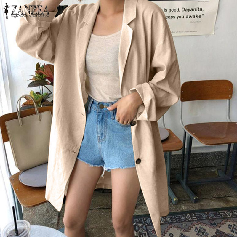2019 Autumn Solid Work Blazer ZANZEA Fashion Lapel Long Sleeve Blazers Women Casual Pockets Cotton Outerwear Femme Coat Jackets