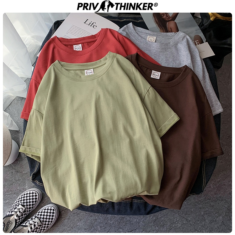 Privathinker 23 Colors Summer Cotton Tees For Men 2020 New Solid Color Short Sleeve T-Shirts Basic Casual Women Tops Couple