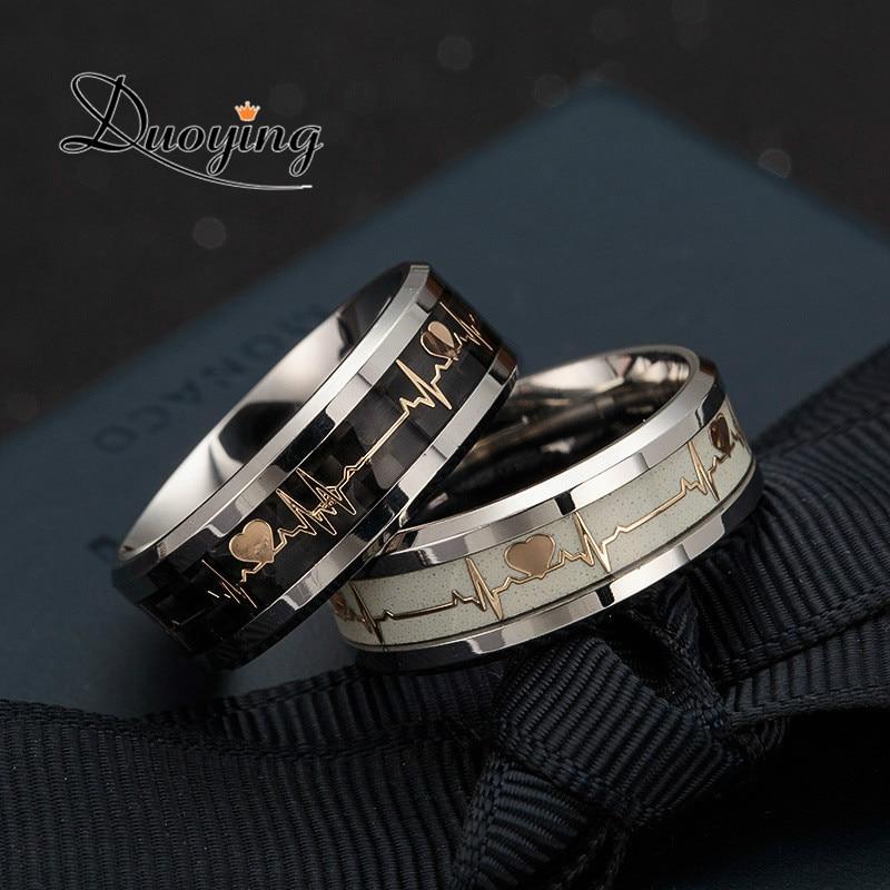 DUOYING Heart Beat Engraved Ring Luminous rings Glowing Rings Men ring In Bar Party Finger Glow Ring