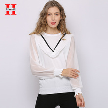 Harrill Chiffon Blouse Office Lady Tops Casual Chiffon Long Sleeve Blouses Women Harajuku Ruffle Design V Striped Simple Tops flare sleeve chiffon long blouse
