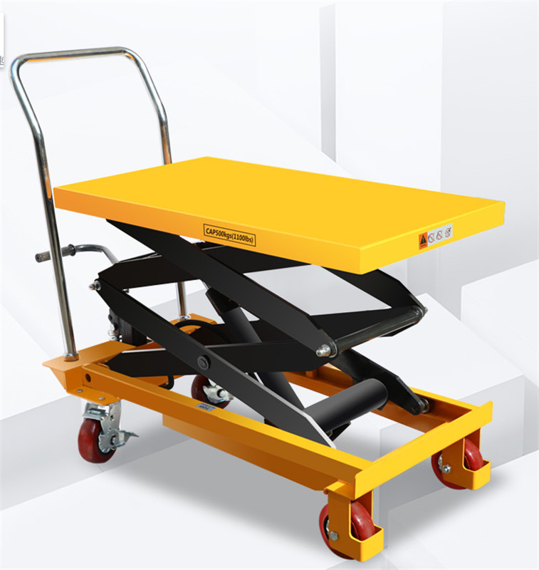 Movable Manual Hydraulic Platform Car, Electric Lift, 2 Tons, Lifting, Transporting, Driver Pushing, Loading And Unloading Car