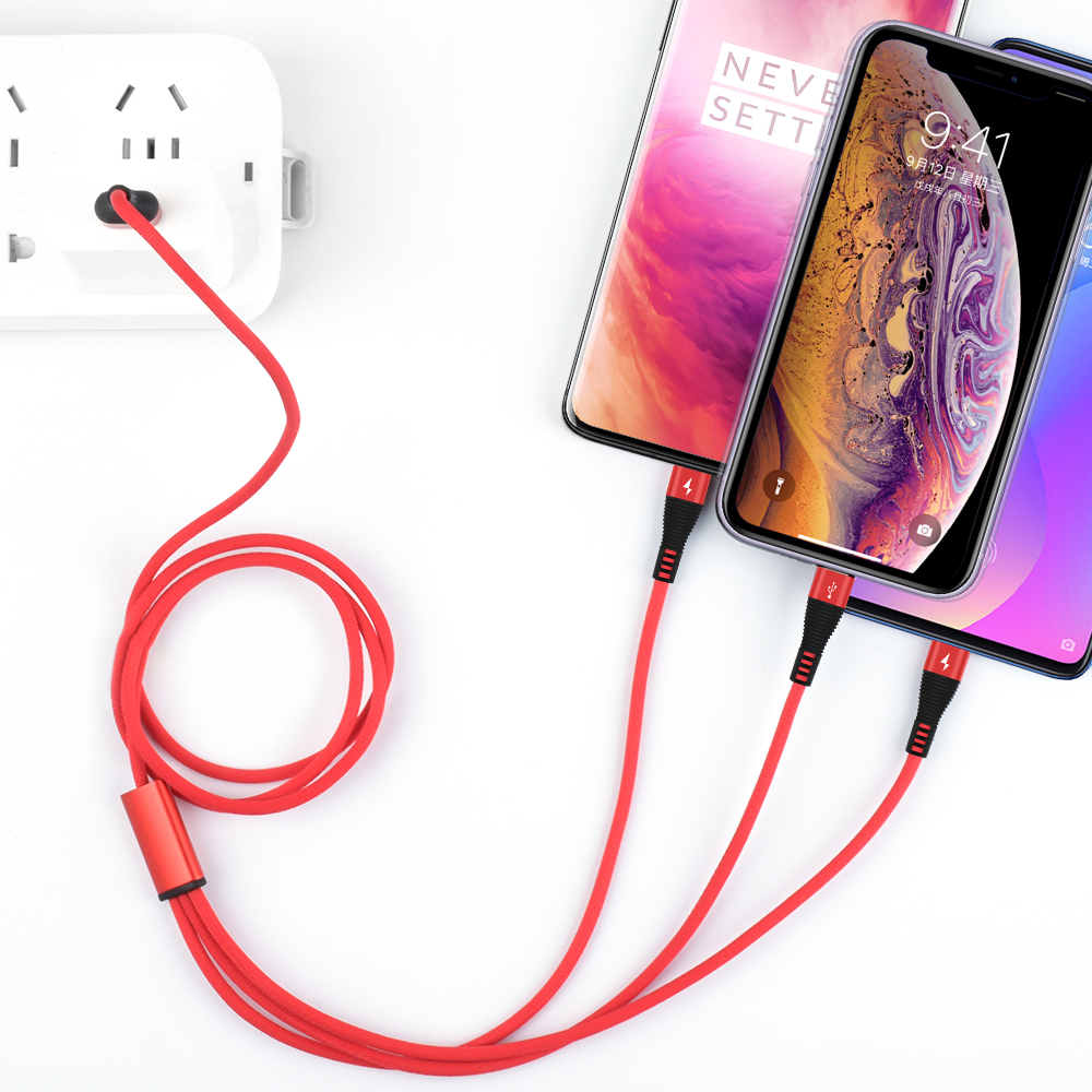 1 2M USB Cable For iPhone XS X 8 7 6 11 Charging Charger 3 in