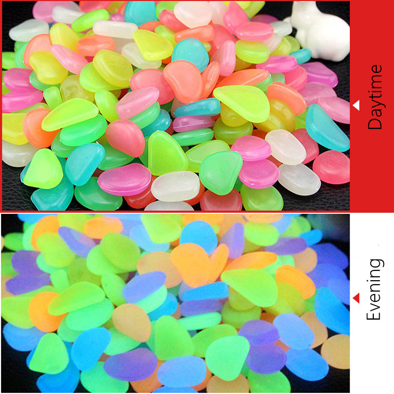 50Pcs Garten Luminous Glowing Stein Pebble Glow in The Dark Garten Glow Steine Felsen für Gehwege Garten Pfad Terrasse rasen Decor
