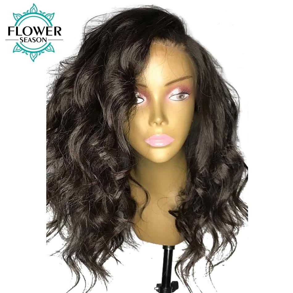 Pre Plucked Fake Scalp Lace Human Hair Wigs 13x6 Brazilian Remy Hair Short Wavy Lace Wig 150% Density FLOWER SEASON