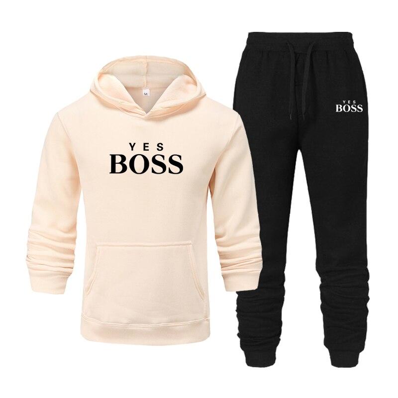 Спортивный костюм мужской брендовый из 2 предметов, толстовка с капюшоном и штаны для бега